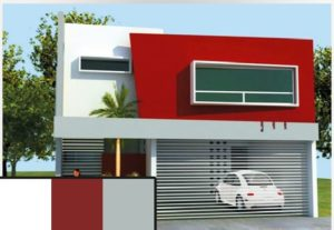Fachadas modernas en color rojo