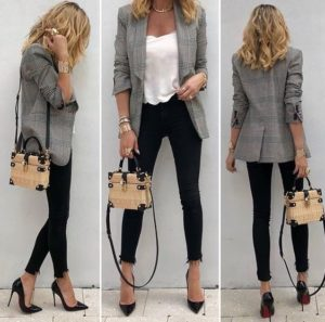Outfit jeans negros oficina mujer