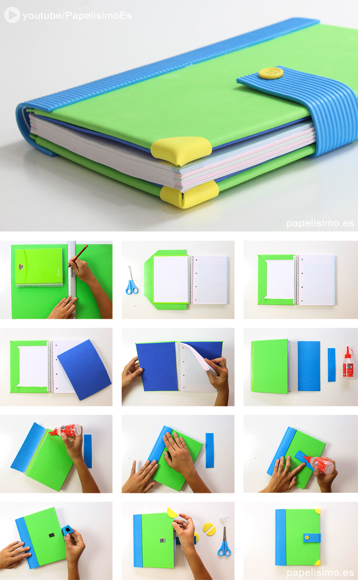 Como decorar un cuaderno con foami juvenil paso a paso