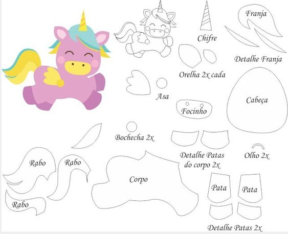 Moldes de unicornio en foami