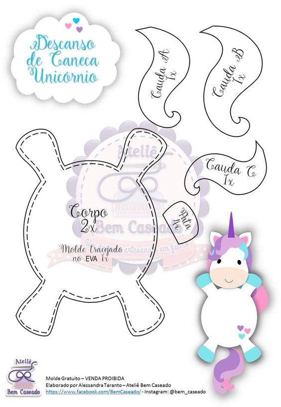 Moldes de unicornios de foamy goma eva o fieltro para imprimir