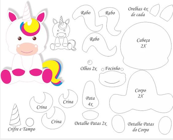 Moldes de unicornios para imprimir