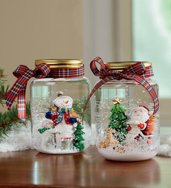 como hacer recipientes de cristal con escenas navideñas