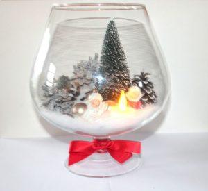 copas gigantes de cristal con escenas navideñas