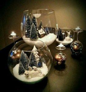 peceras de cristal con escenas navideñas