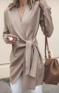 color nude para blusones largos de moda