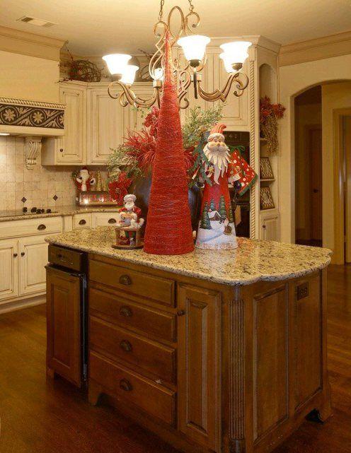 como decorar cocinas con detalles navidenos en una casa de campo