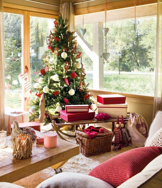 decoracion de salas navideñas en casas de campo