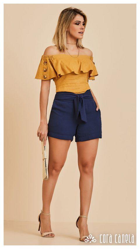 look con shorts casuales para mujeres de 40 años