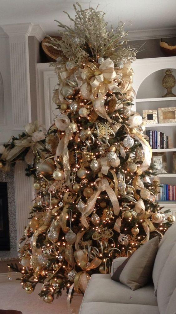 malla dorada para arboles navideños