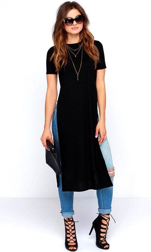moda con blusones largos negros