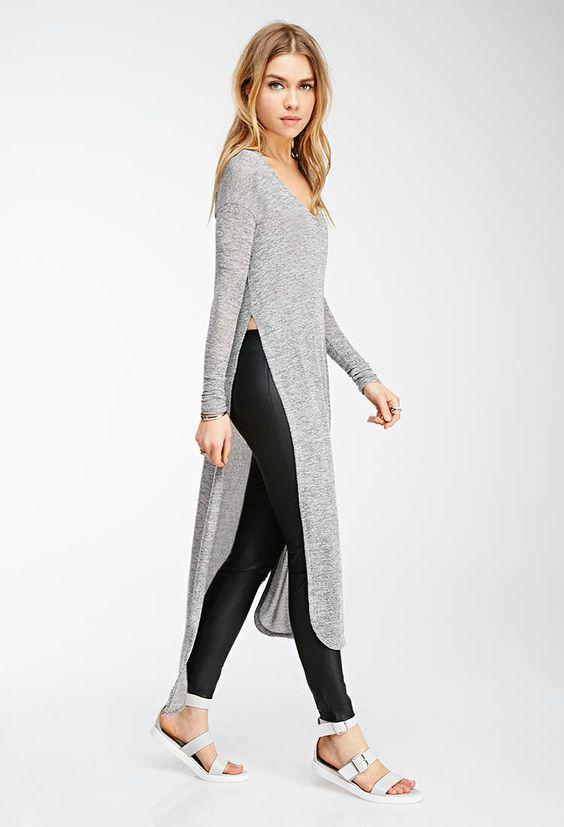 outfit con blusones largos y leggins