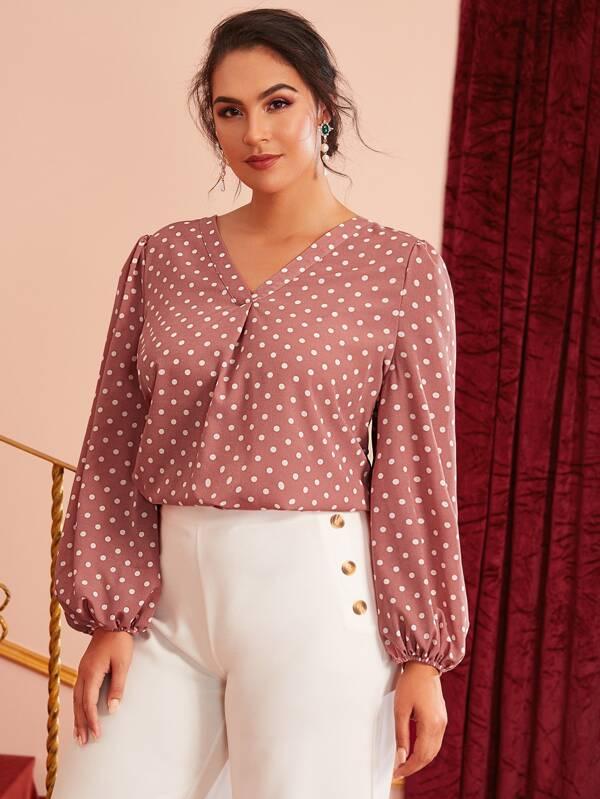 blusas para plus size estampadas con lunares