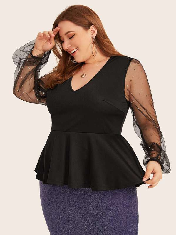 blusas plus size 2019 - 2020 con transparencias