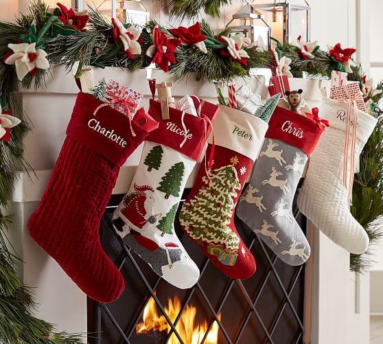 botas navideñas para la chimenea