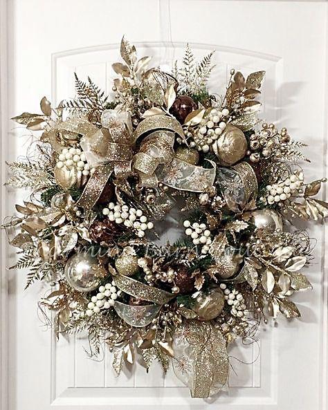 coronas para navidad doradas