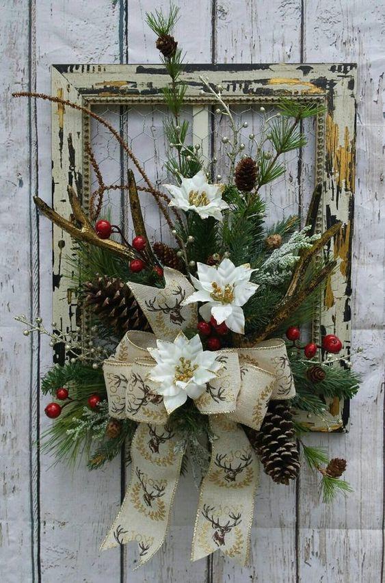 cuadros navideños con detalles rusticos