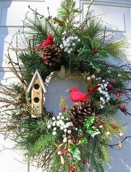 diseño de coronas para navidad con detalles de madera