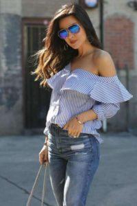 outfit blusa de rayas azul marino