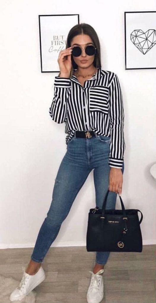 outfit blusa rayas negras y blancas