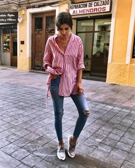 outfit blusa rayas verticales
