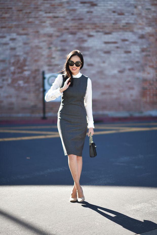 outfits con vestido de oficina y camisera