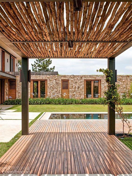 pergolas para el jardin con techos de palma