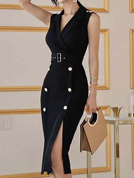vestidos ajustados en colores obscuros para esconder la lonja