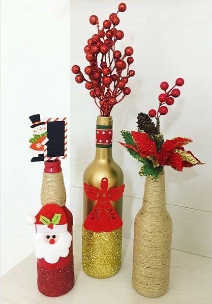 aprende a decorar botellas con estilo navideño modernas elegantes y economicas