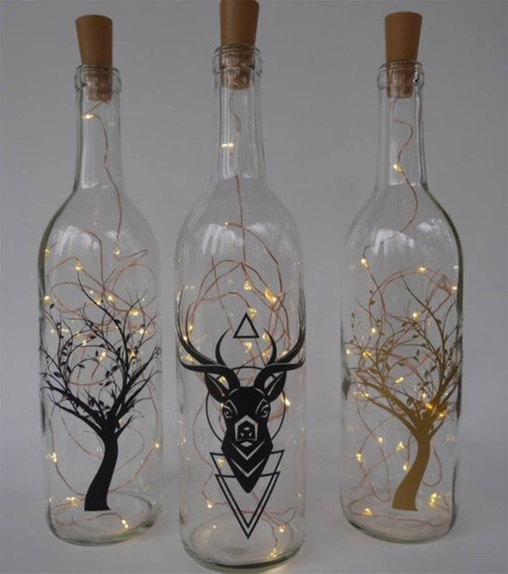 botellas decoradas navideñas con luces