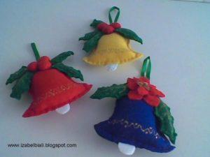 campanas de fieltro bordadas con lentejuelas