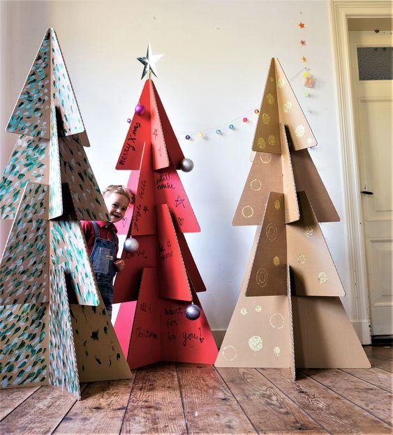 como hacer manualidades navideñas con grandes cajas de carton