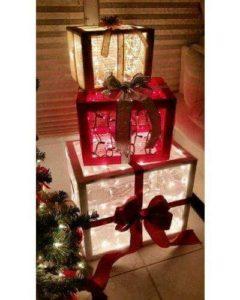 distintas formas de hacer regalos gigantes navideños para decoracion exterior