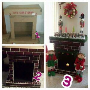 ideas para elaborar chimeneas con carton para navidad