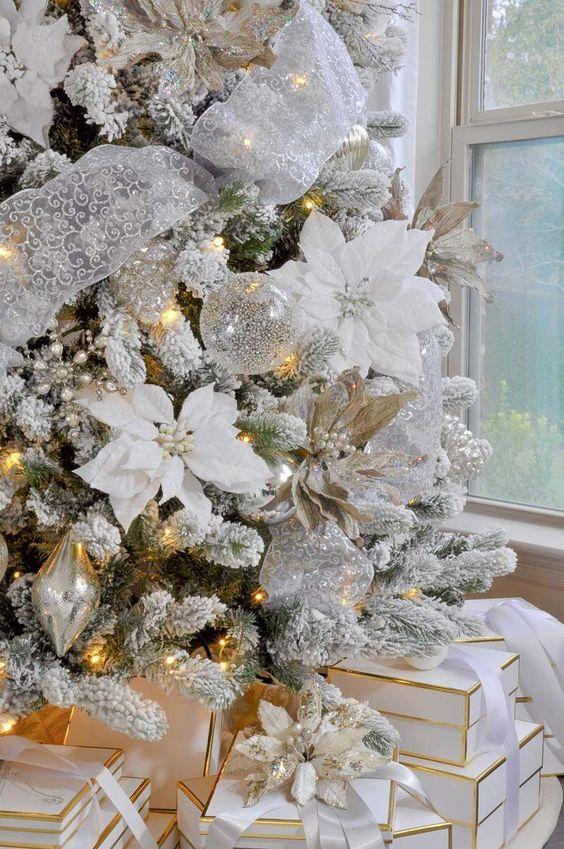 paso a paso para decorar un pino navideño con flores de nochebuenas