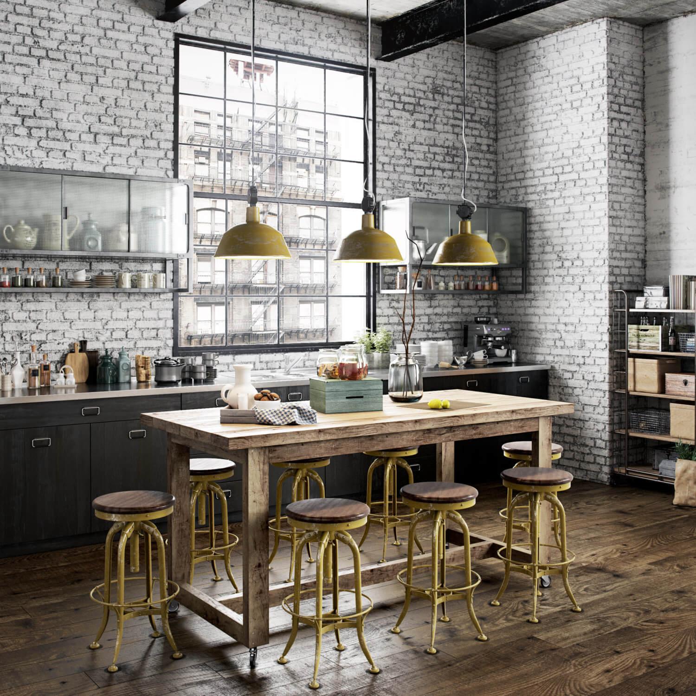 Cocinas pequeñas con comedor estilo industrial