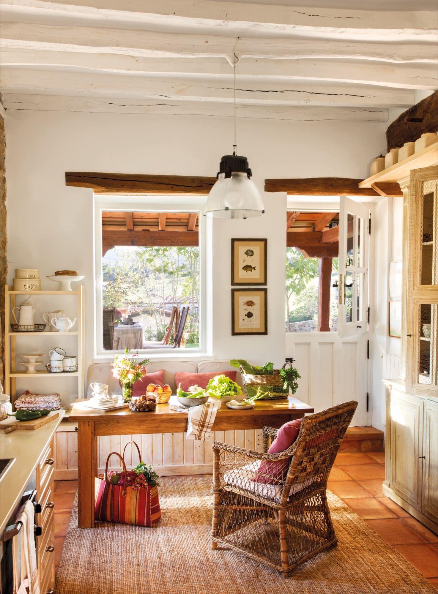 Cocinas pequeñas con comedor estilo rustico