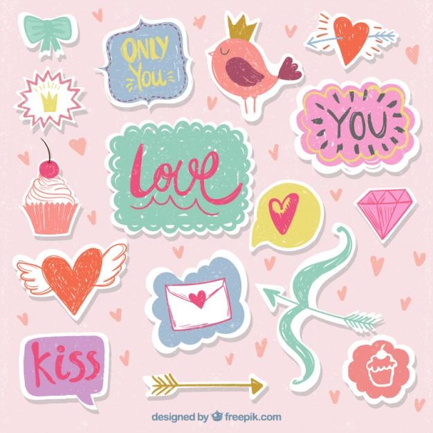 Pegatinas o stickers imprimibles para san valentin