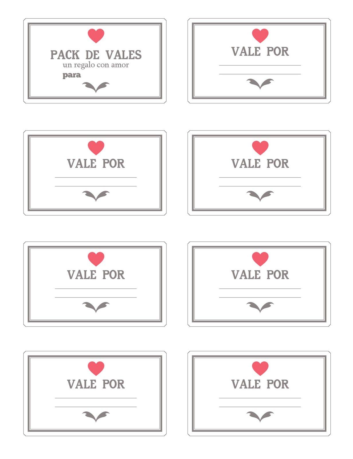 Vales imprimibles para san valentin