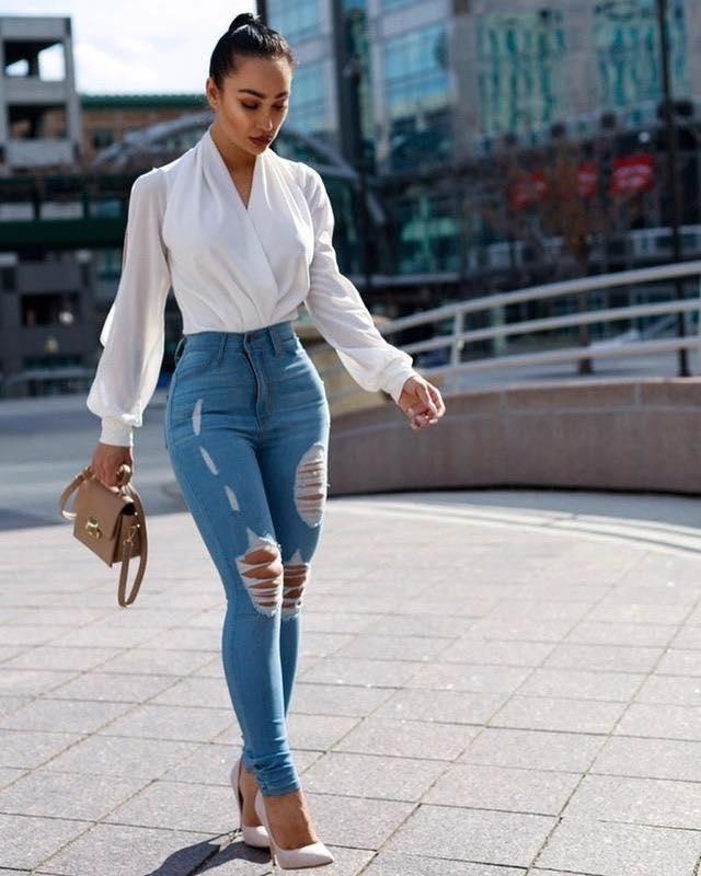 Outfits con pantalones rotos