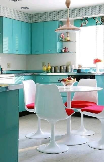 Cocina comedor en color turquesa