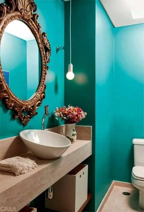 Decoración de baños en color turquesa