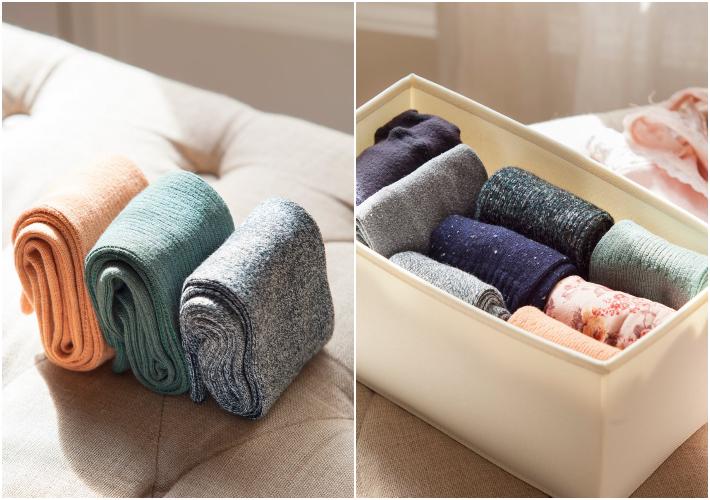 Consejos de orden Marie Kondo - Guardar y emparejar calcetines