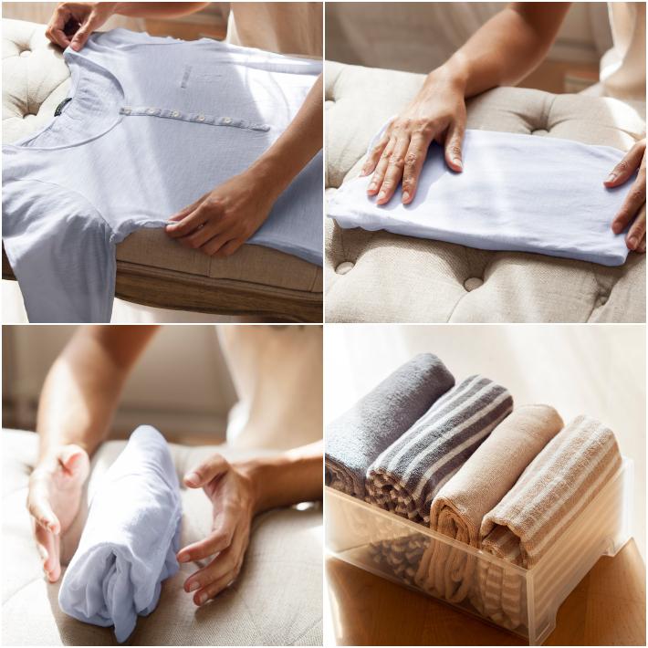 Método de orden Marie Kondo -Doblar y guardar camisetas