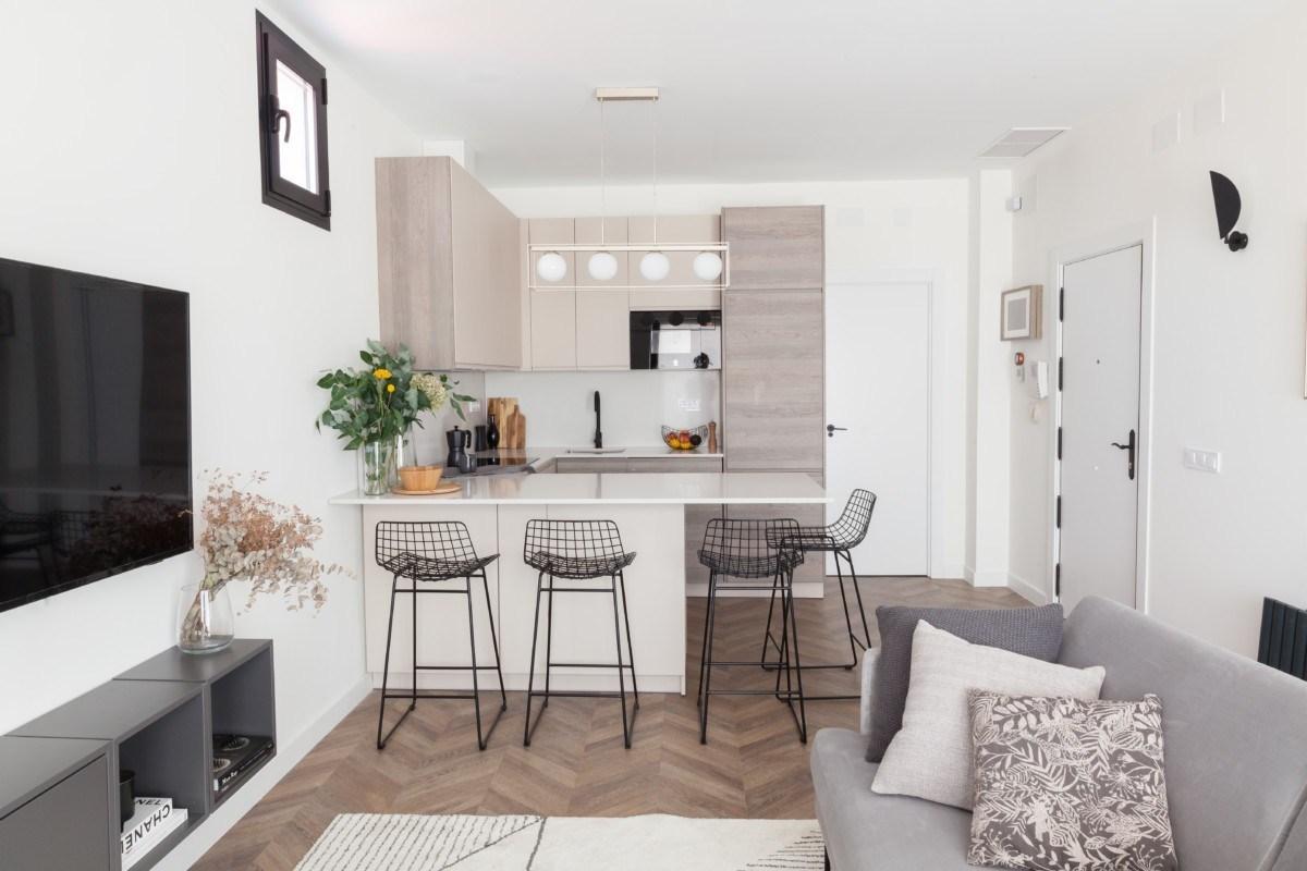 cocina de apartamento de 40m2 elegante y sofisticado