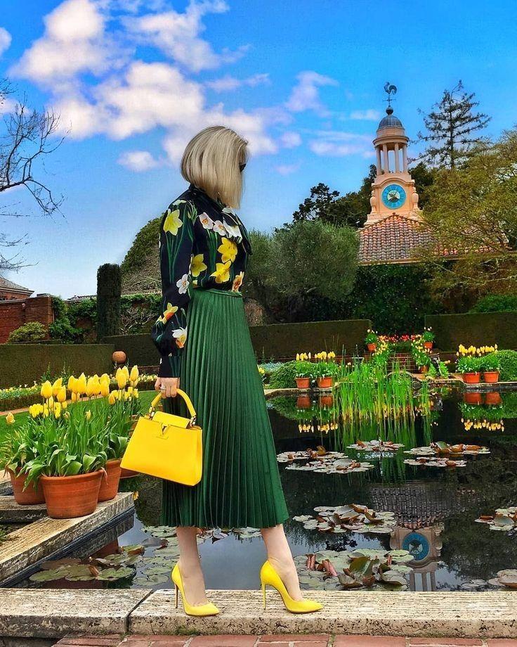 Estas combinaciones de colores te harán lucir muy elegante en esta primavera - falda midi