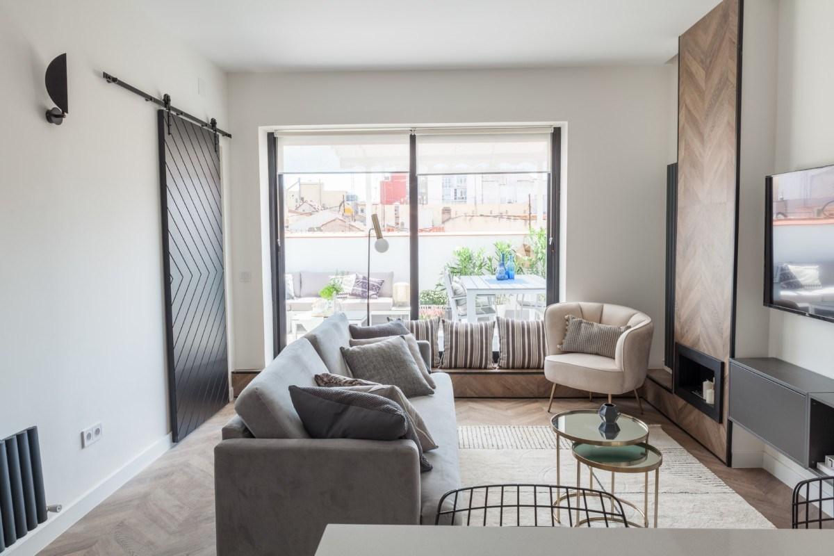 sala de apartamento de 40m2 elegante y sofisticado