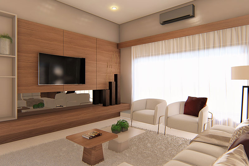 Sala de casas para construir en terrenos grandes
