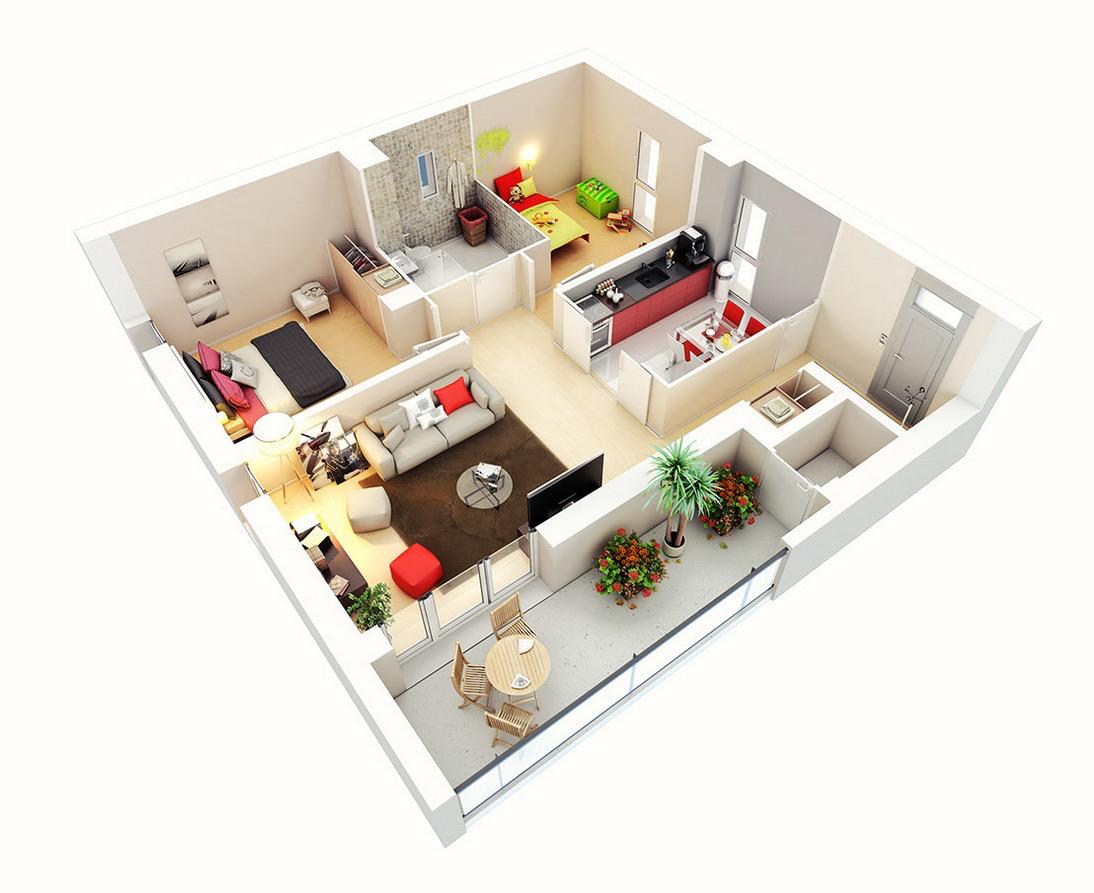 Balcón amplio en departamento pequeño