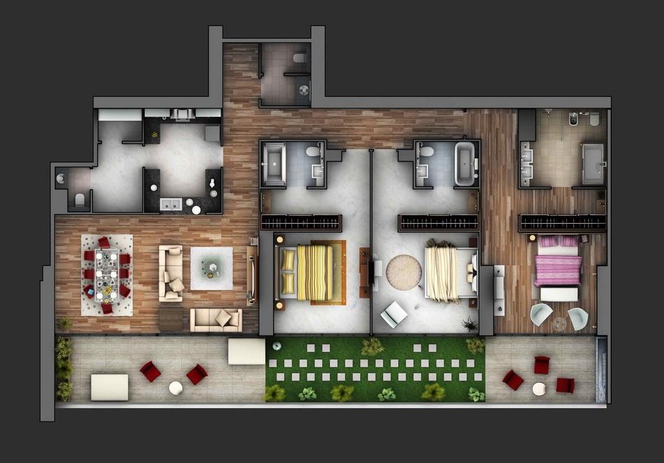Departamento con balcón amplio y área verde